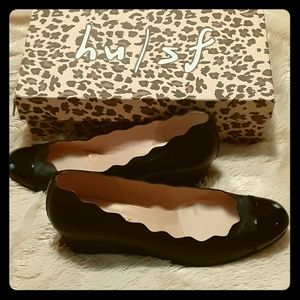 Mile wedges Black patent napa flat shoes